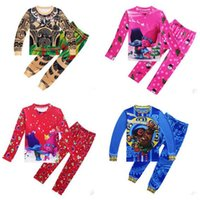 Wholesale Christmas Pajamas For Children Cotton - Christmas Pajamas Moana Trolls Gift for Boys Girls Cartoon Sleepwear Baby Autumn Winter Toddler Kids Children Long Sleeve Pajamas Clothes