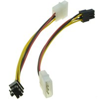 nvidia için video kartı toptan satış-Toptan Satış - 6 Pin Erkek 4 Pin Molex Erkek Güç Kaynağı Kablosu Grafik Kartı Güç Bağlantı Noktası D Fiş Kablosu nVidia ATI AMD ekran kartı için