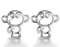 Wholesale Unique Design 925 Earring - 2016 New Monkey 925 Sterling Silver Earrings for Girls Women Korea Style Hollow Unique Design Ear Stud Jewelry Gift Top Grade Quality