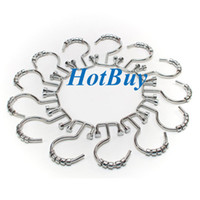 Wholesale Metal Shower Curtain Hooks Wholesale - Double Sided Easy Glide Chrome Plated Rust Proof Bathroom Hooks Decorative Metal Shower Curtain Hooks Curtain Roller Rings #3892