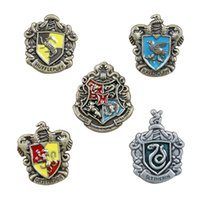 Wholesale Wholesale Metal Badge - Metal Harry Potter Insignia 5 Roles Set Badge Metal Gryffindor Hufflepuff Slytherin Ravenclaw and Hogwarts Halloween Cosplay Novelty Toy
