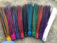 Wholesale Natural Dyed Feather - Wholesale 100Pcs 40-45cm  16-18inches High quality Natural Pheasant Tail Feathers Things Dance Props Wedding Decoration