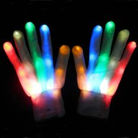 1 пара Magic LED Lighting Glove Rainbow Flash LED Glow Stick Gloves White Skeleton Gloves для Halloween Party Concert stage 45