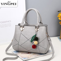 Wholesale Motorcycle Top Bags - PU Leather Top-handle Bags Larger Women Hanbags All-match Hair Ball Shoulder Handbag Motorcycle Messenger Bag