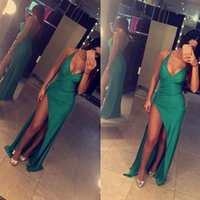 Wholesale Slinky Black Sexy Dress - 2016 Sexy Slinky Evening Dresses Deep V-neck Open Back Latest Maxi Dresses with Split Prom Dresses Occasion Dresses Party Dresses