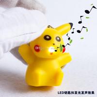 Wholesale Sound Production - NEW poke mon LED keychains pendant accessories cartoon luminous sound production Pikachu key chain poke toys free shipping C1106