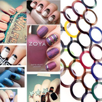 farbe klebeband großhandel-Nail Art Dekoration Aufkleber Aufkleber Nagel Werkzeuge Mode 40 Farbe Metallic Garn Linie Mix Farbe Rolls Striping Tape