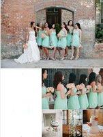Wholesale Simple Short Bridesmaid Dresses Sweetheart - 2016 Mint Green Spring Simple Short Bridesmaid Gowns Sweetheart Knee-Length Lace Prom Dresses Ruffle Chiffon Maid Of Honor Dress Cheap