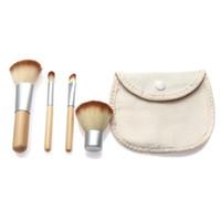 Wholesale Dhl Freeshiping - 4Pcs Set Bamboo Makeup Brushes Kit Beautiful Professional Elaborate make Up brush Tools With Case DHL Freeshiping