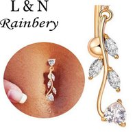 Rainbery Long Section Acier chirurgical Navel Piercing Femmes Sexy Cristal Corps Bijoux CZ Dangle Belly Button Anneaux Bijoux de Corps