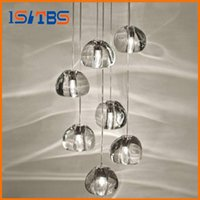 Wholesale Led Sphere Ceiling Lights - Modern clear gold crystal glass sphere ball chandelier g4 3 5 7 15 26head pendant lamp Meteor Rain ceiling light stainless steel base