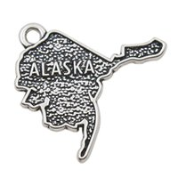 Wholesale Vintage Alloy Charms American State Of Alaska Map Charms AAC049
