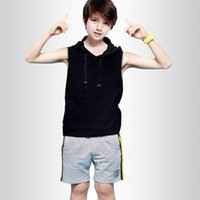 Wholesale Autumn Material - Children's casual hooded sleeveless pullover sweater top boys hot t shirt tee cotton material fashion cool style sport black color