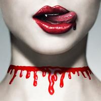 Wholesale horror fancy dress - Halloween Horror Blood Drip Necklace Fancy Dress Fun Joke Choker Red Novelty Accessories For Women yh160586