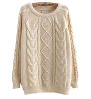 Wholesale Cable Knitwear - Wholesale- SW109 Women Candy Coloured Cable Knitted Sweater Jumper Pullover Jumper Tops Pullover Knitwear 2014 FreeShipping