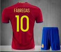 Wholesale Fabregas Spain Jersey - Thai quality Spain Euro cup kit jersey 2016 INIESTA RAMOS home red FABREGAS COSTA SILVA ISCO spain shirt soccer jersey kit