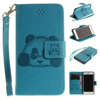 Wholesale Iphone Black Panda - For Iphone 8 7 Plus I7 6 6S I6 5S SE Ipod Touch 5 6 Strap Wallet Flip Leather Pouch Case Cartoon Panda ID Card Stand TPU Money Cover Luxury