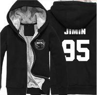 Wholesale kpop jacket - K-pop BTS Bangtan Boys Bulletproof Album Winter Sweatshirt Men And Women Plus Velvet Long-sleeved Zipper Hooded Jacket BTS Kpop Coat