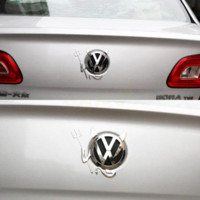 Wholesale Vw Car Decals - 3D PVC Devil Decals Car or Truck Custom Demon Stickers Horns car styling For VW car accessories funny car sticker HA10646