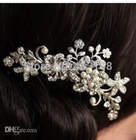 Wholesale Wedding Hair Comb Pearl Diamante - Wholesale-hot sale 2015 new Bridal Wedding Flower Crystal Rhinestones Pearls Women Hair Clip Comb Diamante