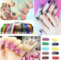 Wholesale Nail Line Sticker - 10 Color Striping Tape Line Nail Art Sticker Decoration Self-adhesive Rolls Free Shipping