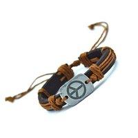 Wholesale Wholesale Leather Bracelets Jewelry - Wholesale-Peace Leather Bracelets Cuff Weave Wrap Leather Men Bracelets & Bangles Brand Charms for Women Men Vintage Jewelry 2016 Gifts