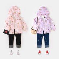 Wholesale Girl Coat Heart - 2017 Autumn New Girls coat Bunny Cake Heart Printing Long Sleeve Hooded Coat Children Clothing 2-7T E316971