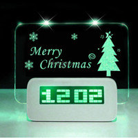 Wholesale Romantic Alarm - Highstar Romantic Fluorescent Message Board Blue Green LED Digital Luminous Electronic Table Desktop Alarm Clock Calendar With USB Hubs