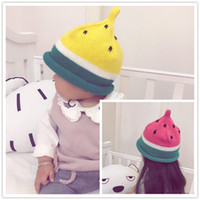Wholesale Cap For Kids Pattern - Kids cute kntting watermelon hat handmade crocheted fruit pattern warm hat for 1-3T boys girls ins hot kntted cap
