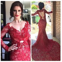 Wholesale Evening Dreses Sleeves - Custom Made Sheer Neck Long Sleeves 2016 Red Lace Mermaid Evening Dresses See Through Back Prom Party Dreses Special Occasion Gowns
