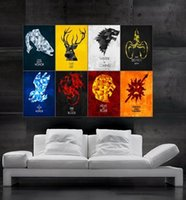 Wholesale Flag Parts - Game of Thrones symbols of houses flags Poster print wall art 8 parts giant huge Poster print art free shipping NO 8-45