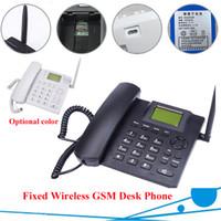 Wholesale Desktop Telephones - GSM Desk Phone GSM 850 900 1800 1900 Quadband SIM Card SMS Function Desktop Telephone Handset Russian French Spanish Portuguese