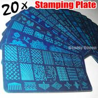 Wholesale Xl Nail Plates - 2016 NEW 20pcs XL FULL Nail Stamping Stamp Plate Full Design Image Disc Stencil Transfer Polish Print Template QXE01-20
