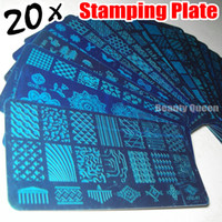 NEW 20pcs XL FULL Nail Stamping Stamp Plate Full Design Image Disc Stencil Transfer Polish Print Template QXE01-20