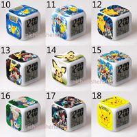 Wholesale toy clocks - Poke Pokémon go LED Clock toys 45 style new children cartoon Pikachu Charmander Jeni turtle clock toys B001