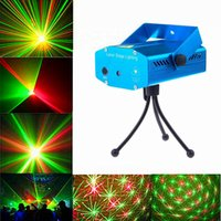 Wholesale Laser Music Projector - DHL ship Mini Laser Stage Lighting Light Lights Starry Sky Red & Green LED R&G Projector indoor music DISCO DJ Party with box