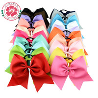 Wholesale Large Red Bows For Hair - Wholesale-8 Inch Large Solid Girls Cheerleading Hair Bow Grosgrain Ribbon Cheer Bow Elastic Band Ponytail Hair Holder For Girl  Women 598