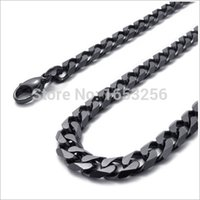 Wholesale Men Black Chain Necklace 18 - 18''-32'' Wide 8mm Black Top Quality Never Fade Stainless Steel Men Solid Cuban Link Chain Curb Necklace Fashion Gifts