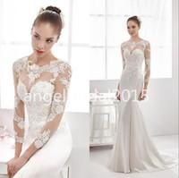 Wholesale Damask Satin - 2017 chun xia long sleeve lace wedding dress transparent mermaid damask small round collar wedding dress bridal gown free shipping