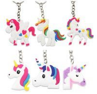 Wholesale horse key rings - Unicorn Keychain Keyring Cellphone Charms Handbag Pendant Kids Gift Toys Phone Decoration Accessory Horse Key Ring
