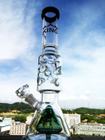 Wholesale Double Stem - glass beaker inliner double base beaker matrix glass bongs dome stem glass water pipe ice notches hbking popualr glass pipe dab thick glass