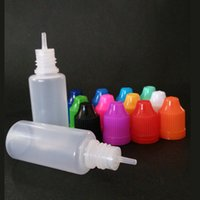 botellas de punta de aguja ecig al por mayor-botella líquida e 15 ml botellas cuentagotas a prueba de niños casquillo larga aguja delgada goteo ecig botella al por mayor