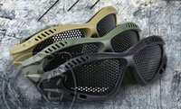Wholesale Metal Mesh Goggles - Tactical Goggles Outdoor Eye Protection With Metal Mesh CS Game Airsoft Wargame Paintball Safety Hiking Eyewear 10pcs lot Free Shipping
