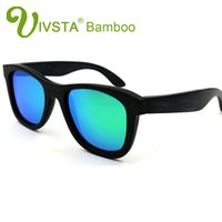 Wholesale Sunglasses Oem - IVSTA Natural Bamboo Sunglasses Black Brush Bambu Polarized Lenses Wooden Sunglasses Men Real Dropshipping OEM Mirror VB07