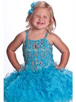 Wholesale pageant dresses children cupcake resale online - Pink Turquoise Glitz Toddle Cupcake Pageant Dresses Jeweled Stones Little Girls Baby Instant Short Child Pageant Dresses HY1284