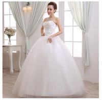 Wholesale Korean Skirts Pictures - 2016 Wedding Dress Korean Strapless Dress Han Edition Princess Elegant Beauty Party Pageant Ball Bridal Gown Skirt Red Carpet Dresses