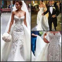 Wholesale Cheap Detachable Wedding Gowns - 2016 Mermaid Modest Bohemian Crystal Country Wedding Dresses With Detachable Skirt Real Photo Cheap Bridal Gowns