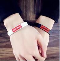 Wholesale Mens Wristbands - sports mens bracelet hip hip Sup silicon bracelet Hot Sale Fashion Wristband Silicone Bracelets&Banles Logo Design Women