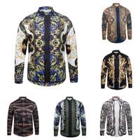 Wholesale Striped Collar Shirt Men - Ferr Shipping fdeyu2017 Of Men Floral Print Colour Mixture Luxury Casual Hara juku Shirts Long sleeves Men's medusa shirts M--2XL