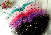Wholesale Birthday Pettiskirt - 2016 New Tutu Skirt For Baby Girls Gold Polka Dot Skirt Ballet Tutu Pettiskirt Children Birthday Tutu